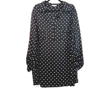 3X Pleione Erin Black Dot Print Woven Popover Top